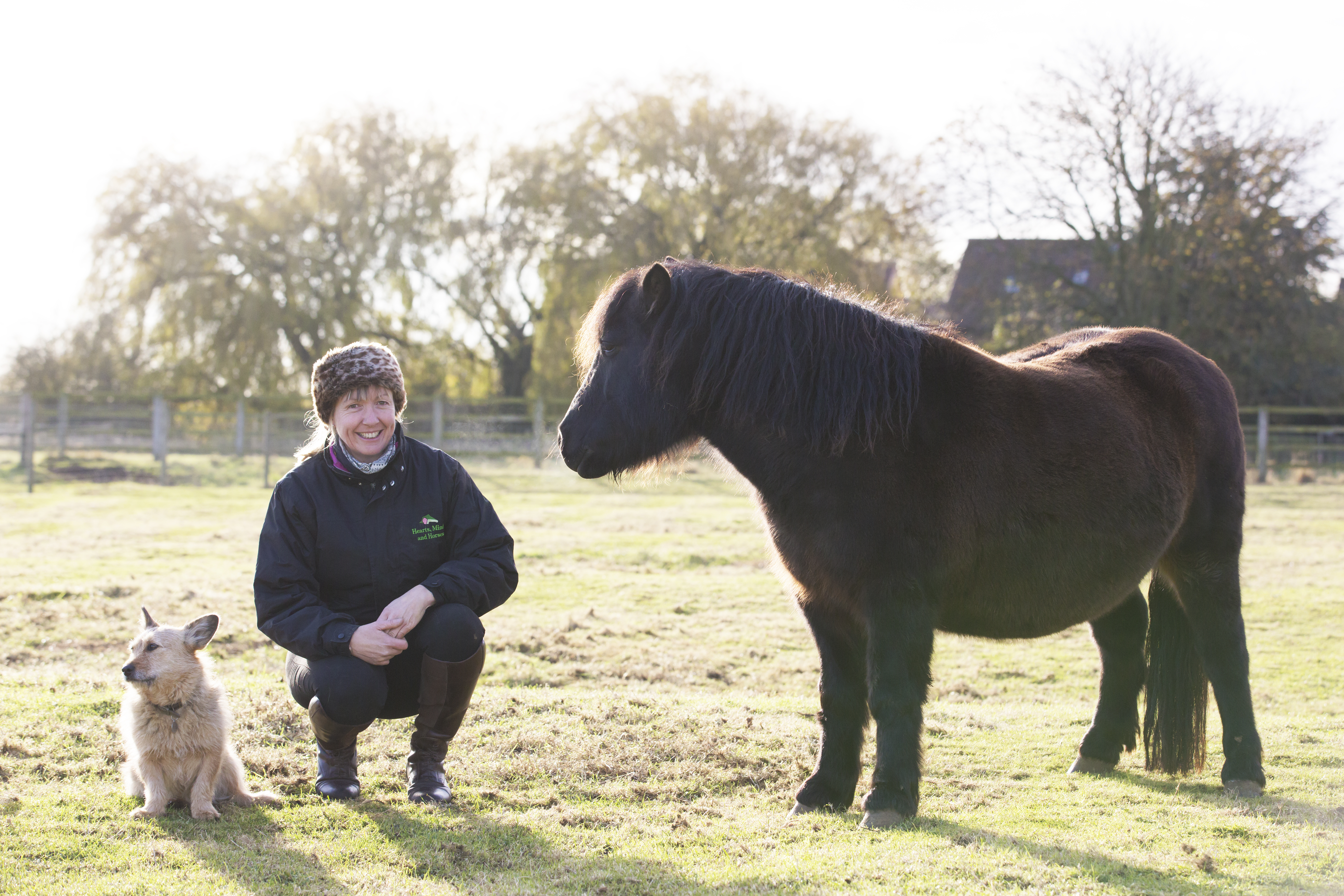 counsellor michelle with horse and dog